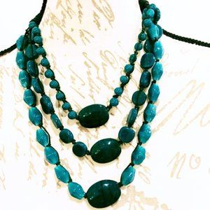 Teal Glass Multistrand Necklace